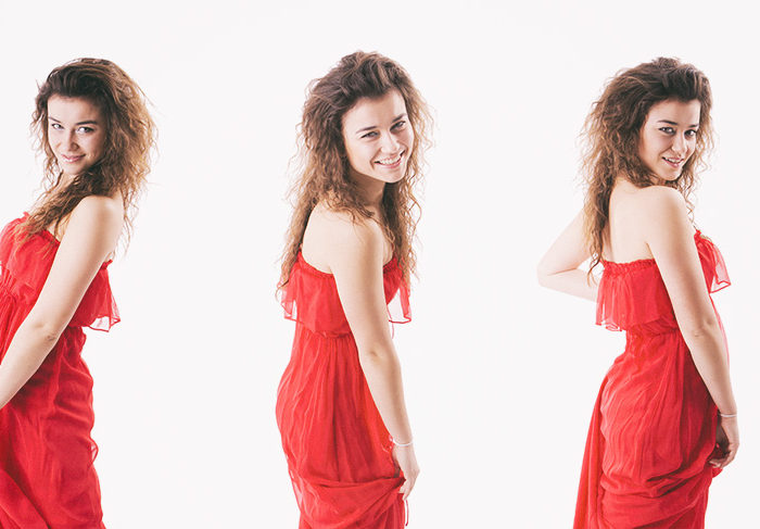 3 Different poses of a woman in red dress isolated on white